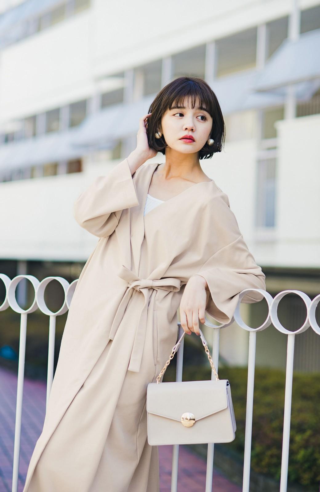 haco! サイドリボンと落ち感が女っぽい 羽織り&重ね着を楽しむカットソーワンピース <ピンクベージュ>の商品写真3