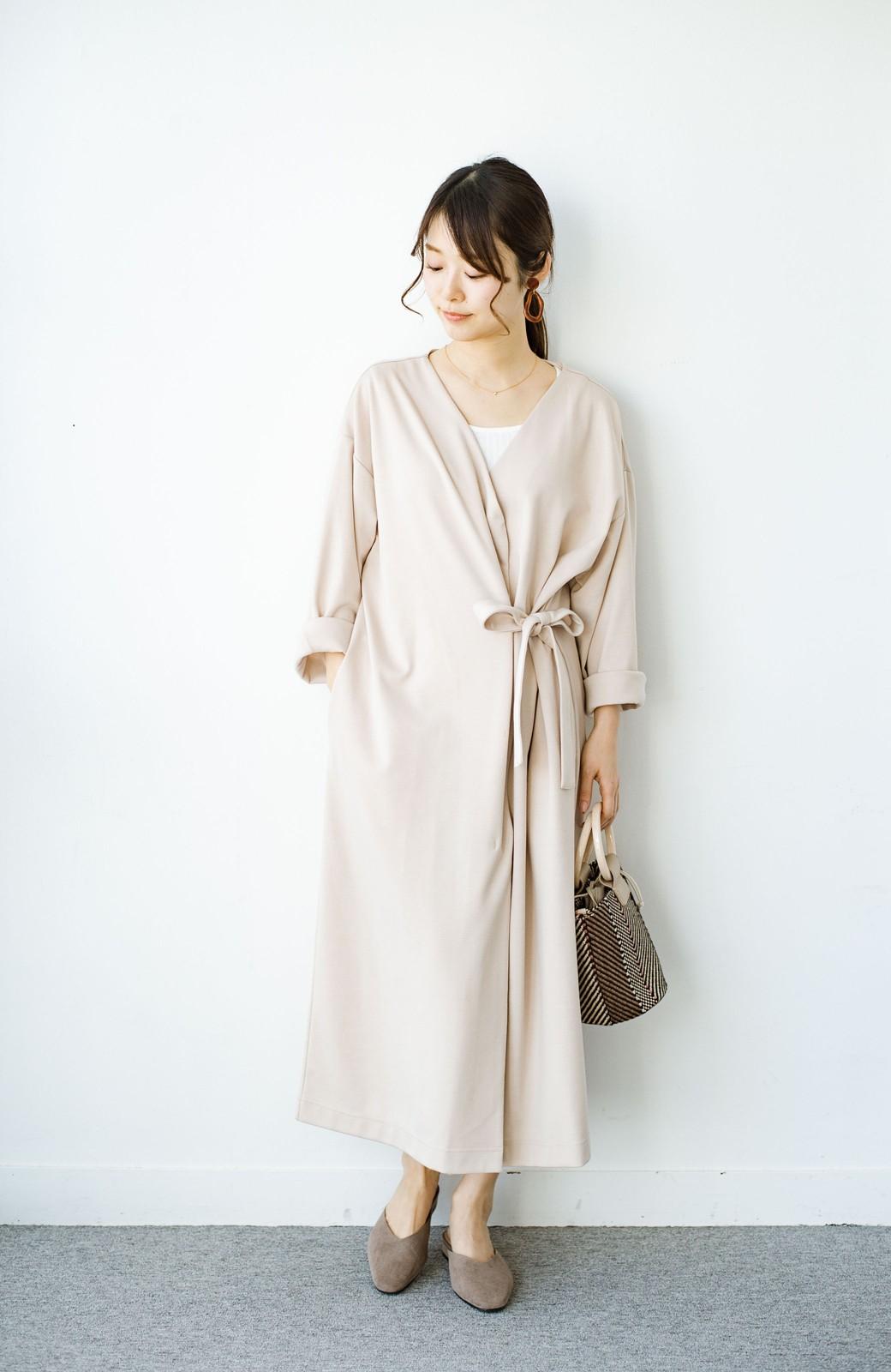 haco! サイドリボンと落ち感が女っぽい 羽織り&重ね着を楽しむカットソーワンピース <ピンクベージュ>の商品写真10