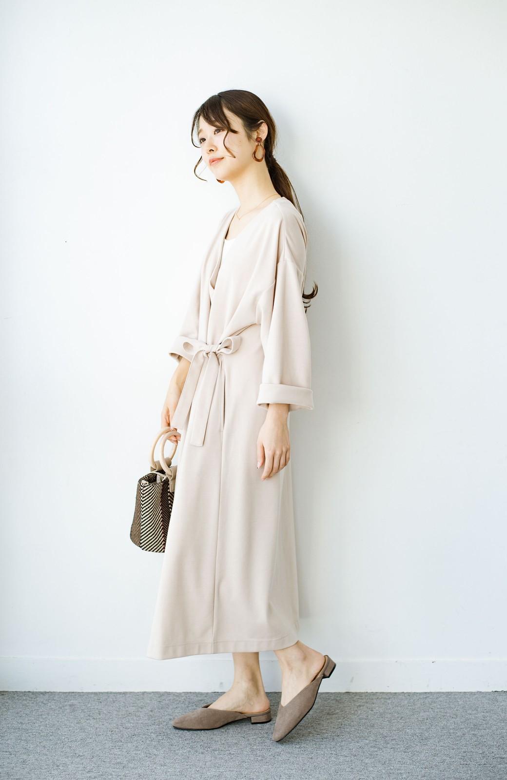 haco! サイドリボンと落ち感が女っぽい 羽織り&重ね着を楽しむカットソーワンピース <ピンクベージュ>の商品写真6