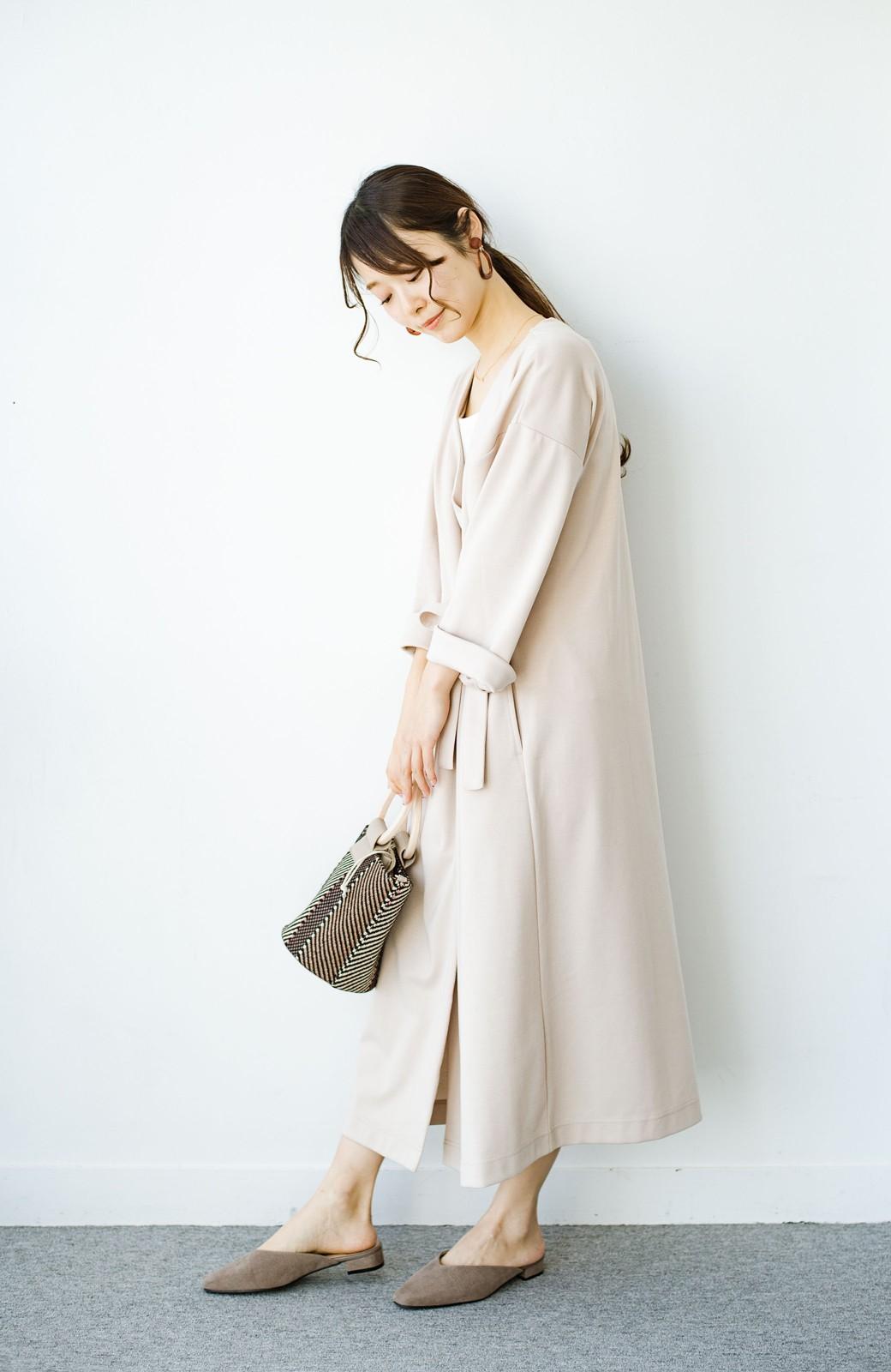haco! サイドリボンと落ち感が女っぽい 羽織り&重ね着を楽しむカットソーワンピース <ピンクベージュ>の商品写真8