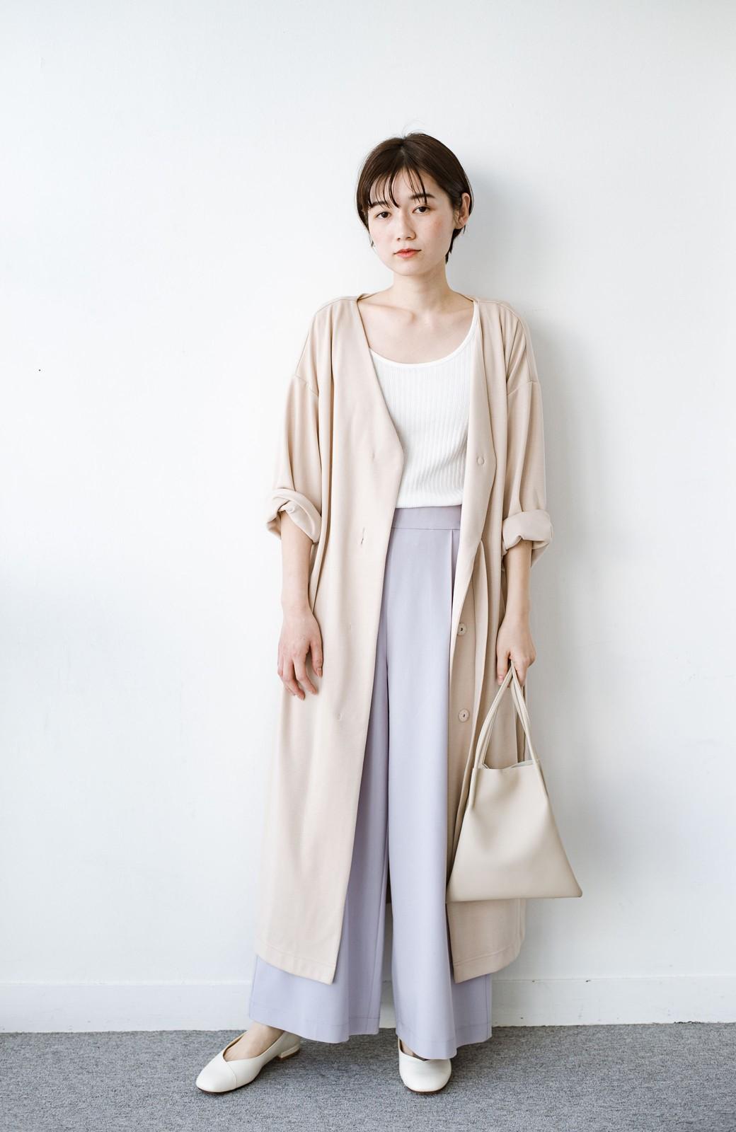 haco! サイドリボンと落ち感が女っぽい 羽織り&重ね着を楽しむカットソーワンピース <ピンクベージュ>の商品写真9