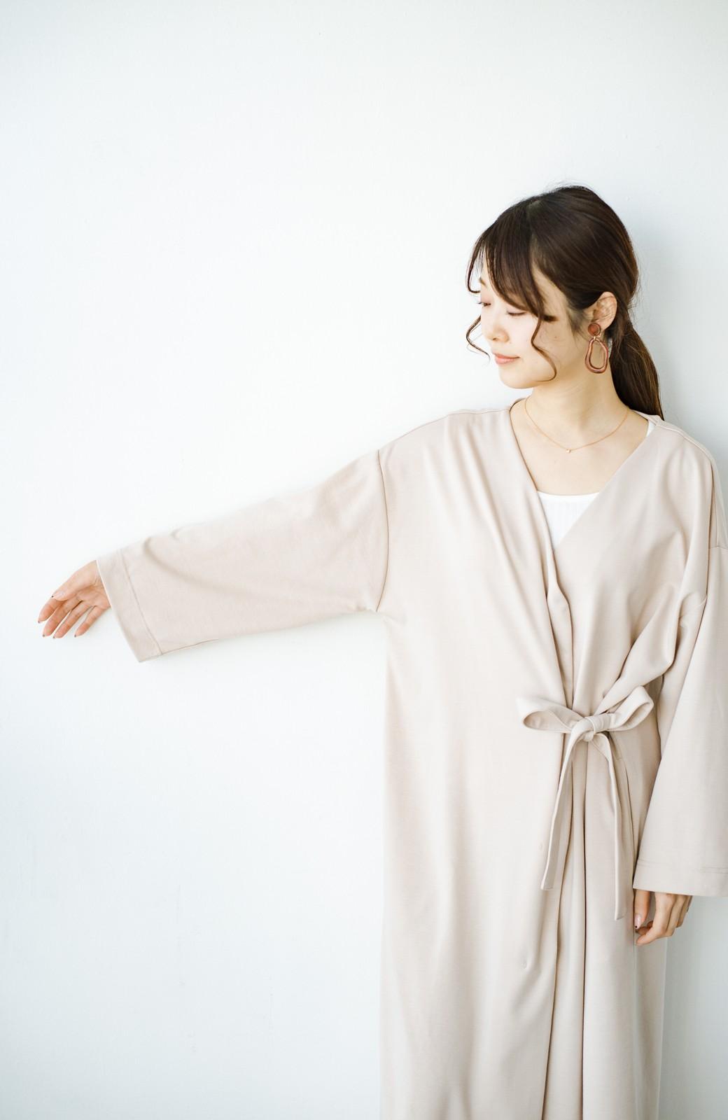 haco! サイドリボンと落ち感が女っぽい 羽織り&重ね着を楽しむカットソーワンピース <ピンクベージュ>の商品写真13