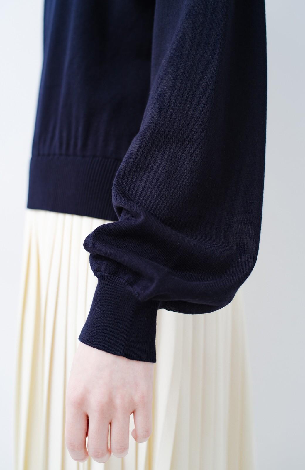 haco! 寝坊した朝もこれさえあれば安心!ニットとプリーツスカートのドッキングワンピース <ネイビー>の商品写真19