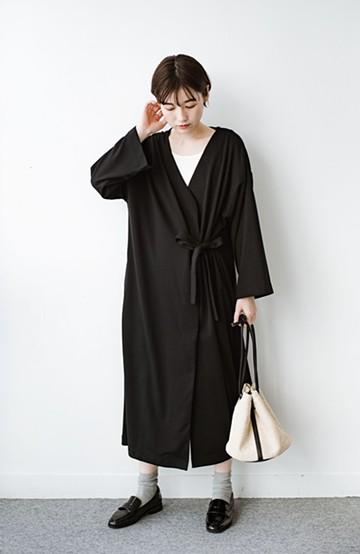 haco! サイドリボンと落ち感が女っぽい 羽織り&重ね着を楽しむカットソーワンピース <ブラック>の商品写真