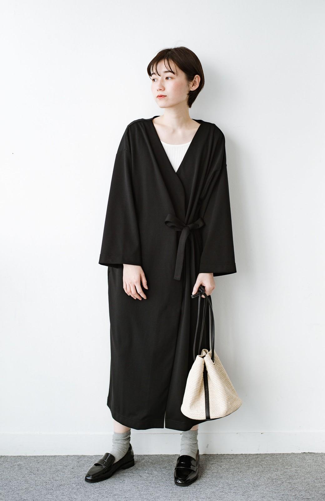 haco! サイドリボンと落ち感が女っぽい 羽織り&重ね着を楽しむカットソーワンピース <ブラック>の商品写真8