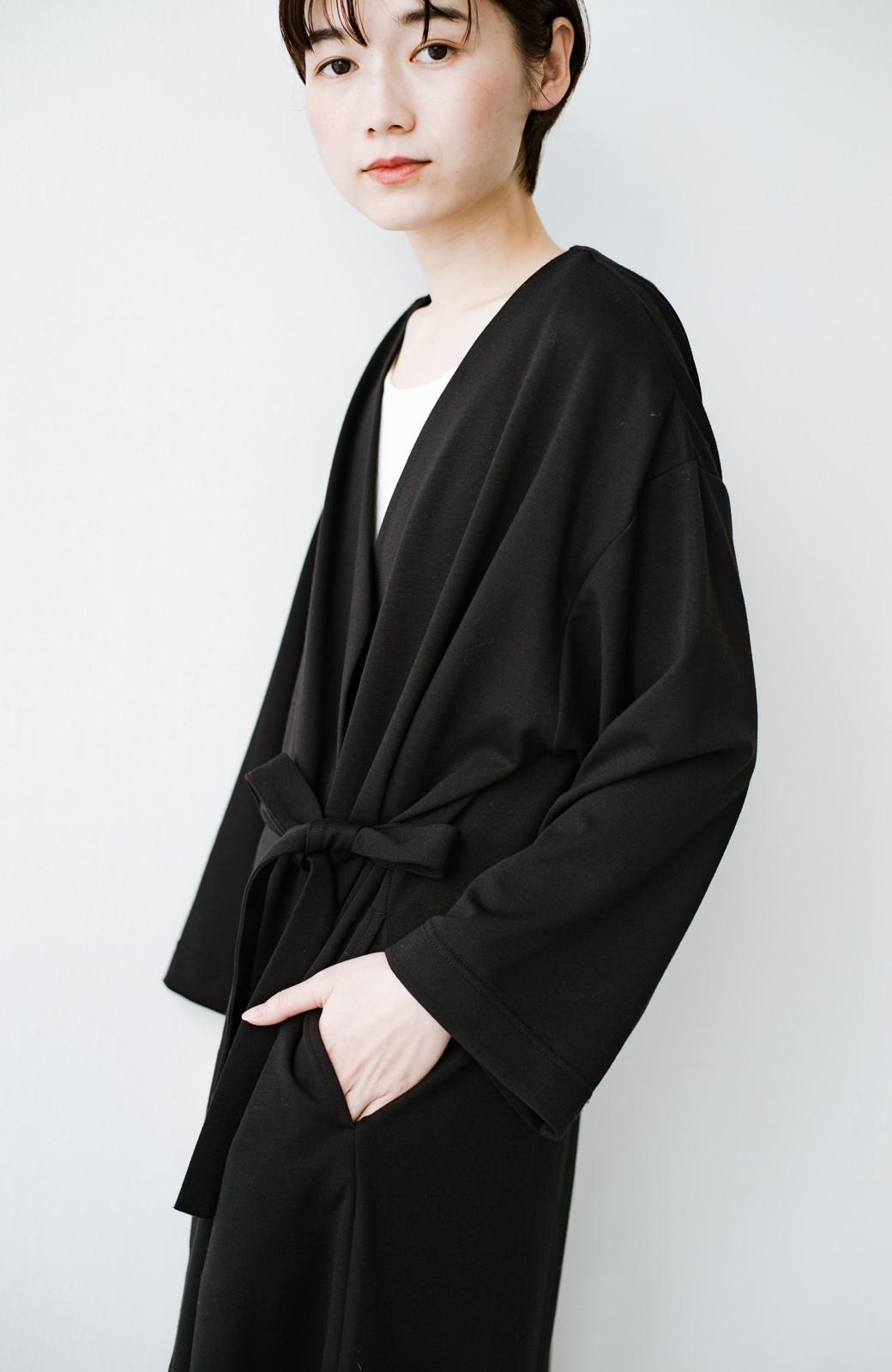 haco! サイドリボンと落ち感が女っぽい 羽織り&重ね着を楽しむカットソーワンピース <ブラック>の商品写真9