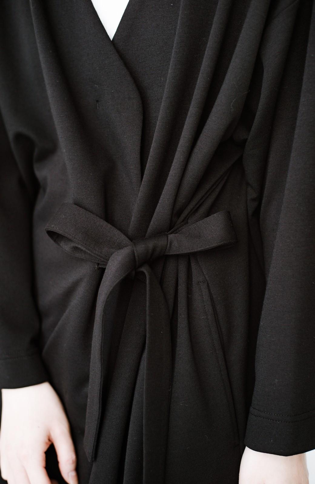 haco! サイドリボンと落ち感が女っぽい 羽織り&重ね着を楽しむカットソーワンピース <ブラック>の商品写真21