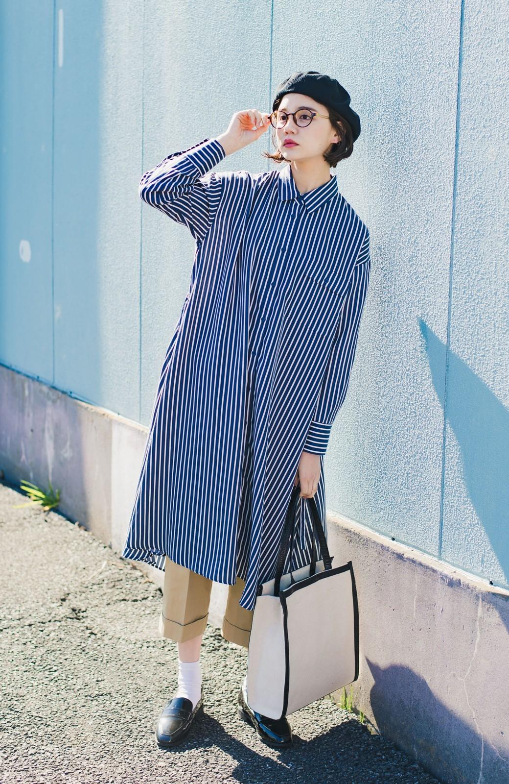 haco! 長ーーい季節着られる! 単品づかいはもちろん重ね着も楽しいシャツワンピース  <ネイビー>の商品写真1