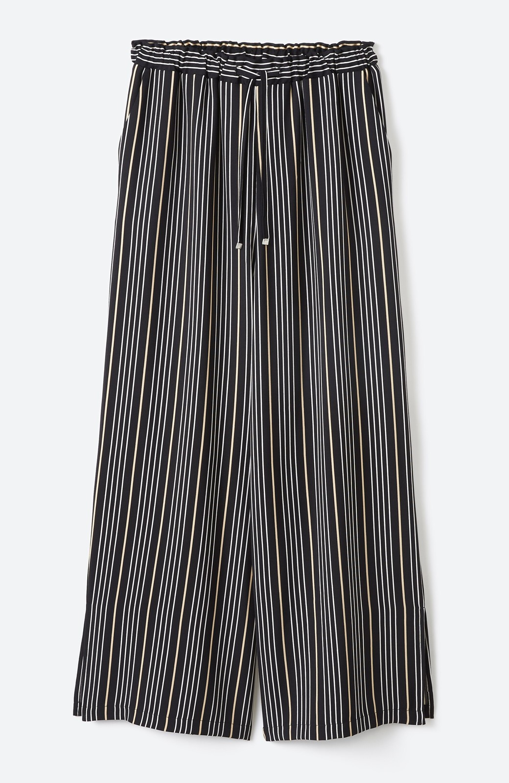 haco! パッとはくだけで着映えはもちろん 重ね着にも便利なストライプワイドパンツ <ブラック系その他>の商品写真28