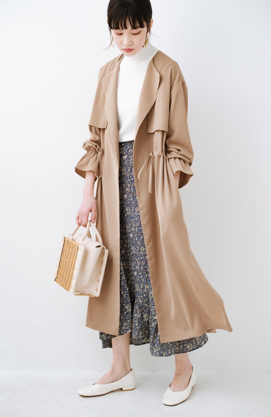 haco! パッと羽織ってルンとする 柔らか素材の女っぽロングコート <ライトブラウン>の商品写真18