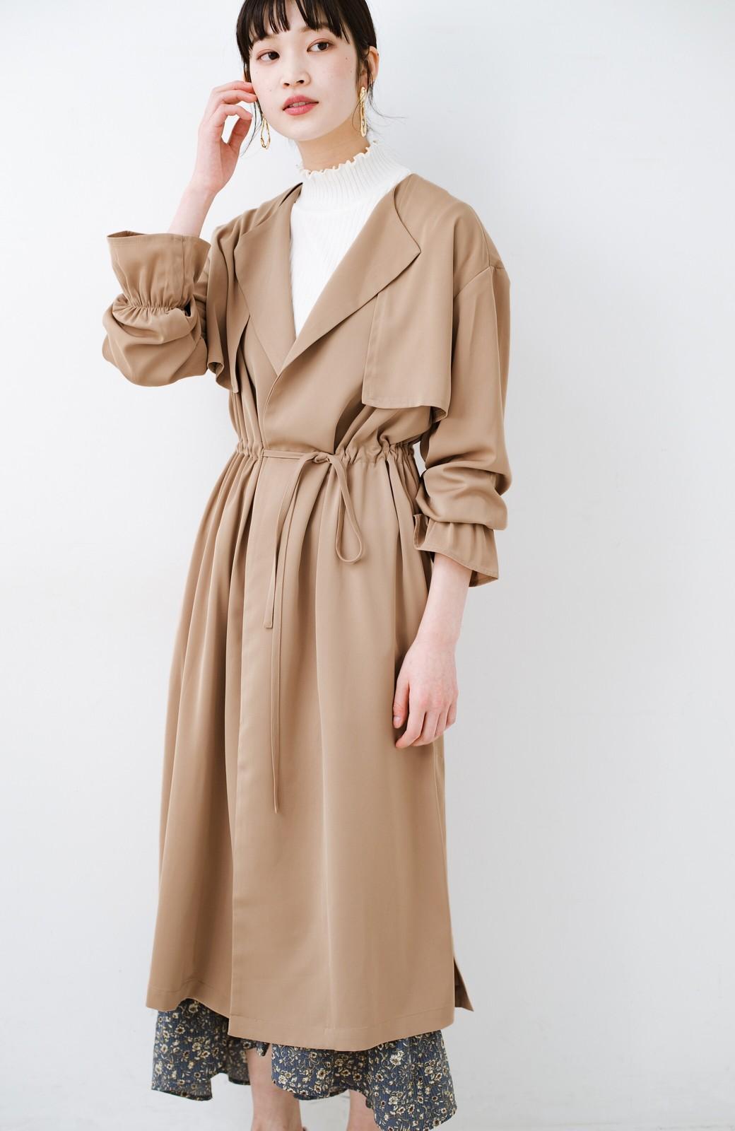 haco! パッと羽織ってルンとする 柔らか素材の女っぽロングコート <ライトブラウン>の商品写真8