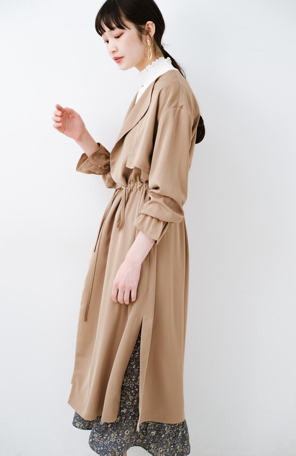 haco! パッと羽織ってルンとする 柔らか素材の女っぽロングコート <ライトブラウン>の商品写真10