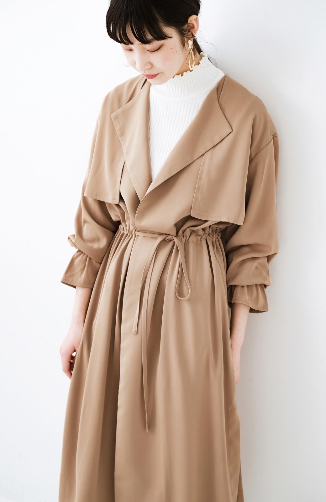 haco! パッと羽織ってルンとする 柔らか素材の女っぽロングコート <ライトブラウン>の商品写真19