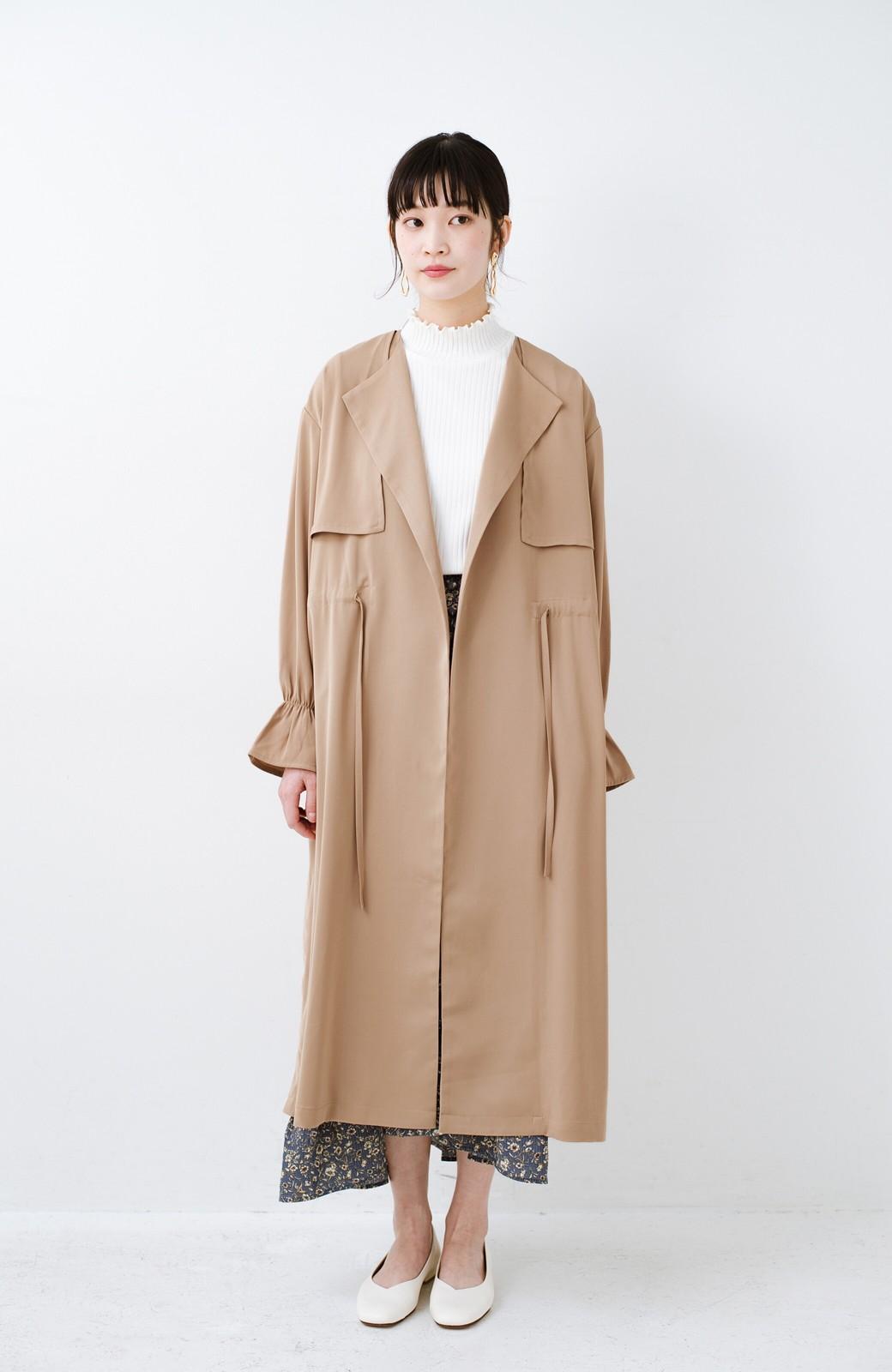 haco! パッと羽織ってルンとする 柔らか素材の女っぽロングコート <ライトブラウン>の商品写真6