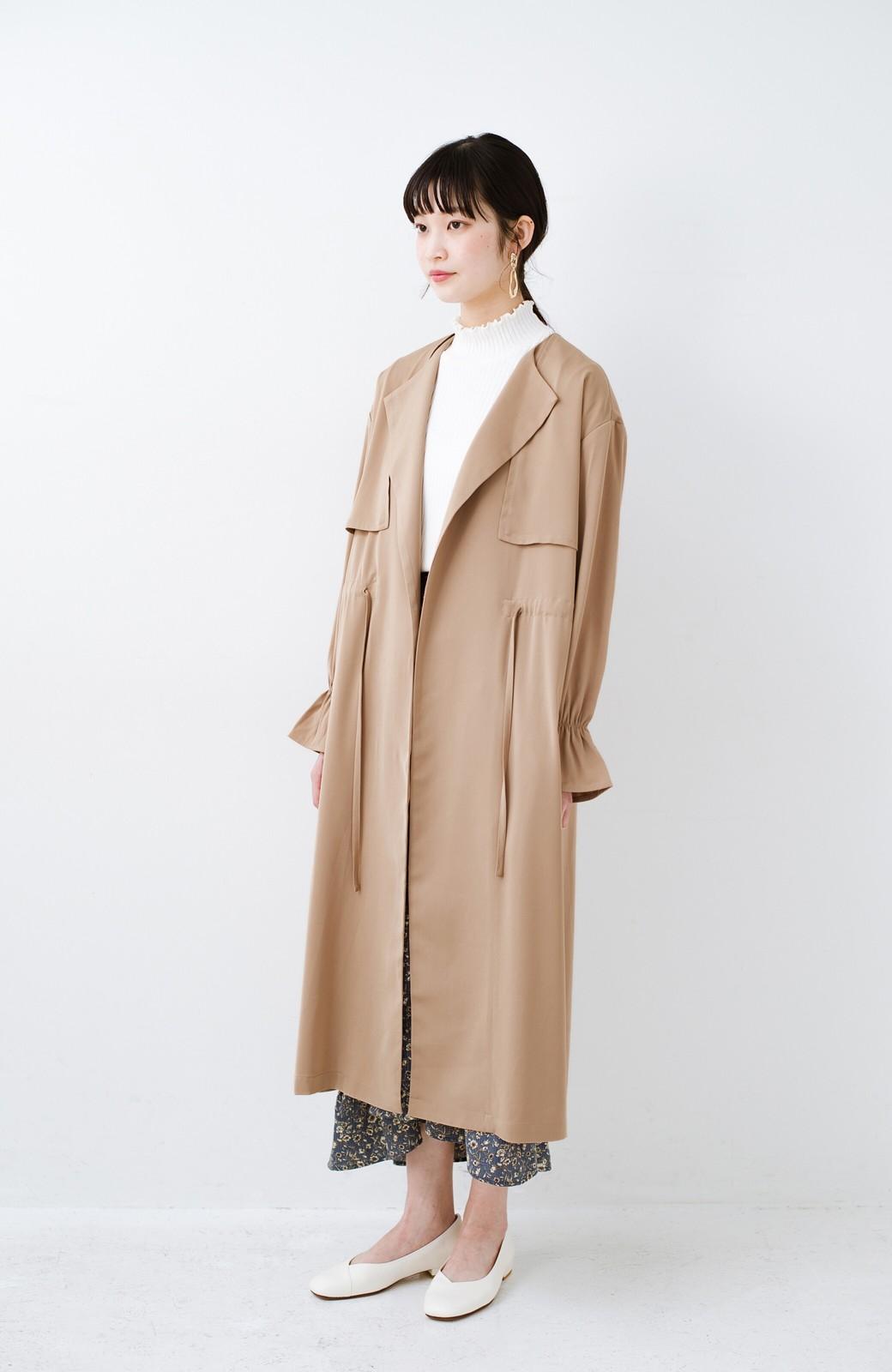 haco! パッと羽織ってルンとする 柔らか素材の女っぽロングコート <ライトブラウン>の商品写真15