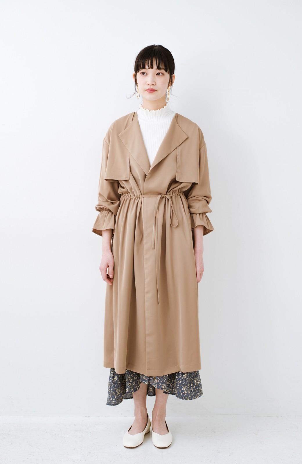 haco! パッと羽織ってルンとする 柔らか素材の女っぽロングコート <ライトブラウン>の商品写真7