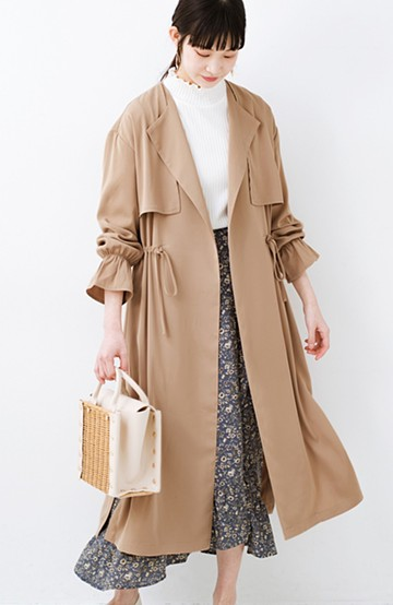 haco! パッと羽織ってルンとする 柔らか素材の女っぽロングコート <ライトブラウン>の商品写真