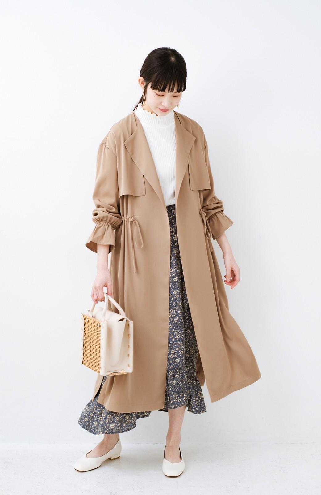 haco! パッと羽織ってルンとする 柔らか素材の女っぽロングコート <ライトブラウン>の商品写真11