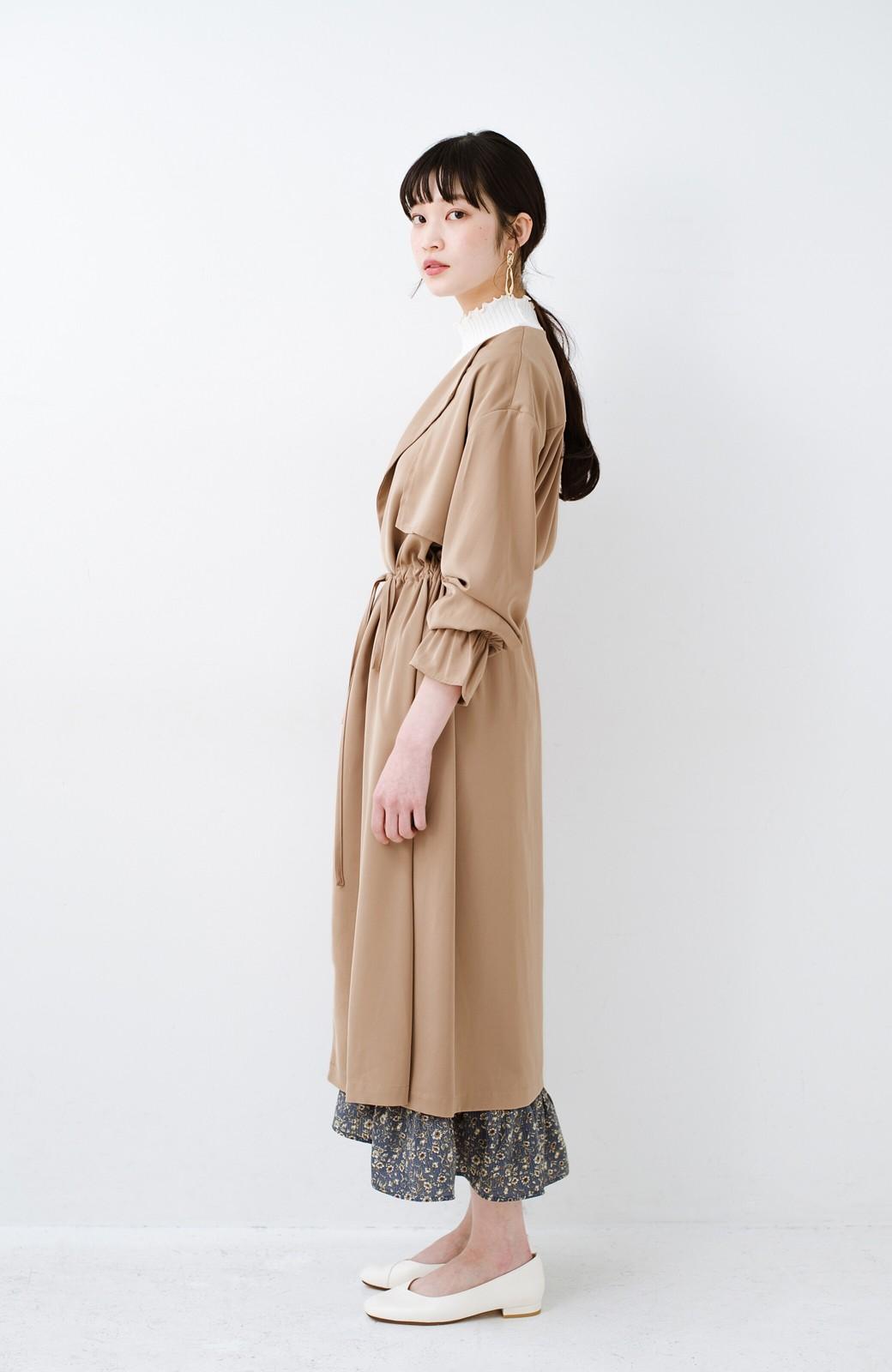 haco! パッと羽織ってルンとする 柔らか素材の女っぽロングコート <ライトブラウン>の商品写真14