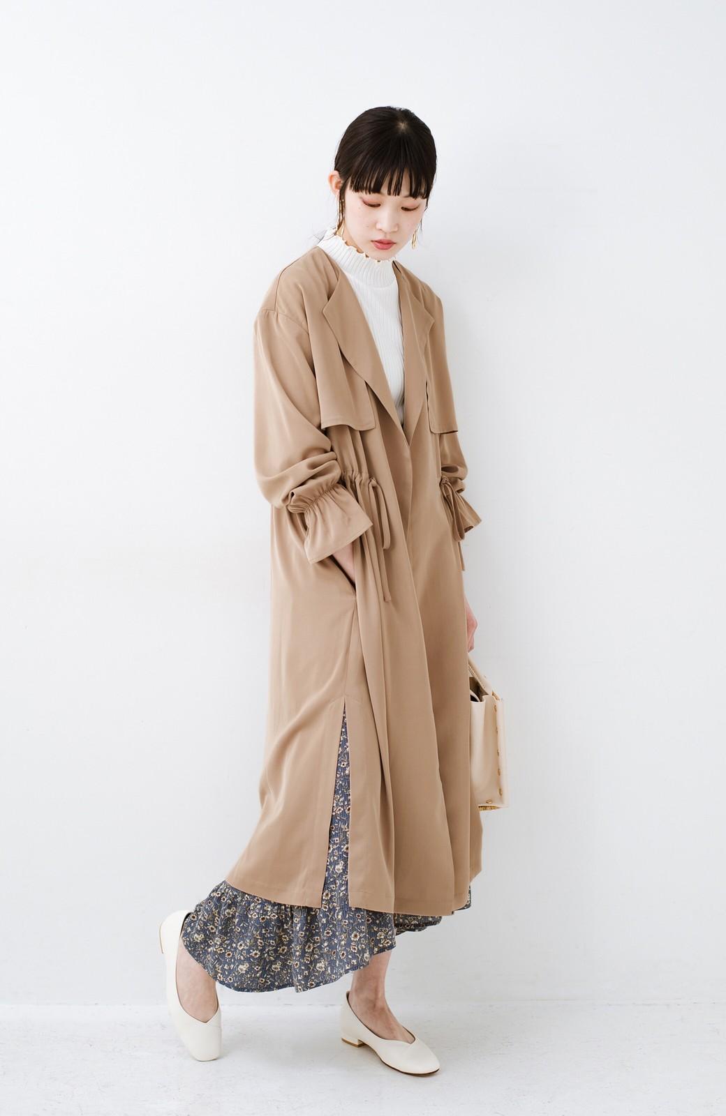 haco! パッと羽織ってルンとする 柔らか素材の女っぽロングコート <ライトブラウン>の商品写真9