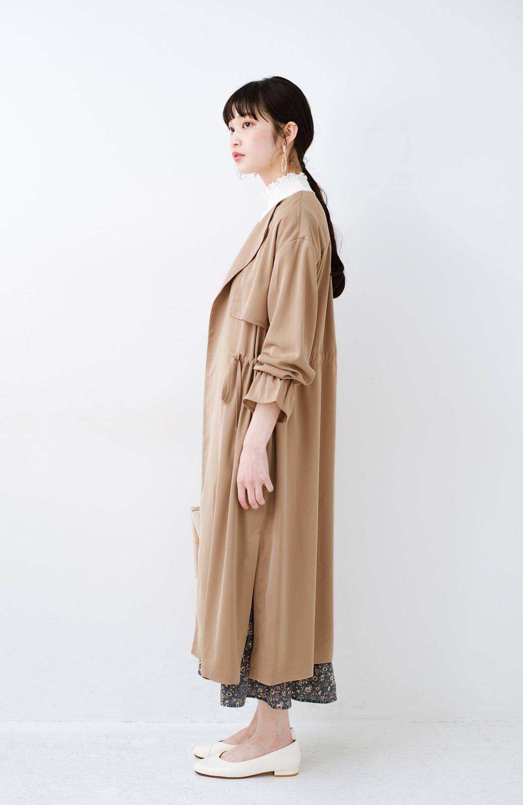haco! パッと羽織ってルンとする 柔らか素材の女っぽロングコート <ライトブラウン>の商品写真16