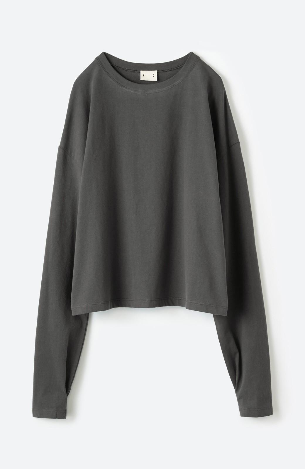 haco!  ゆるシルエットがオシャレ見え&華奢見せを叶える 便利すぎるロングTシャツ <チャコールグレー>の商品写真15