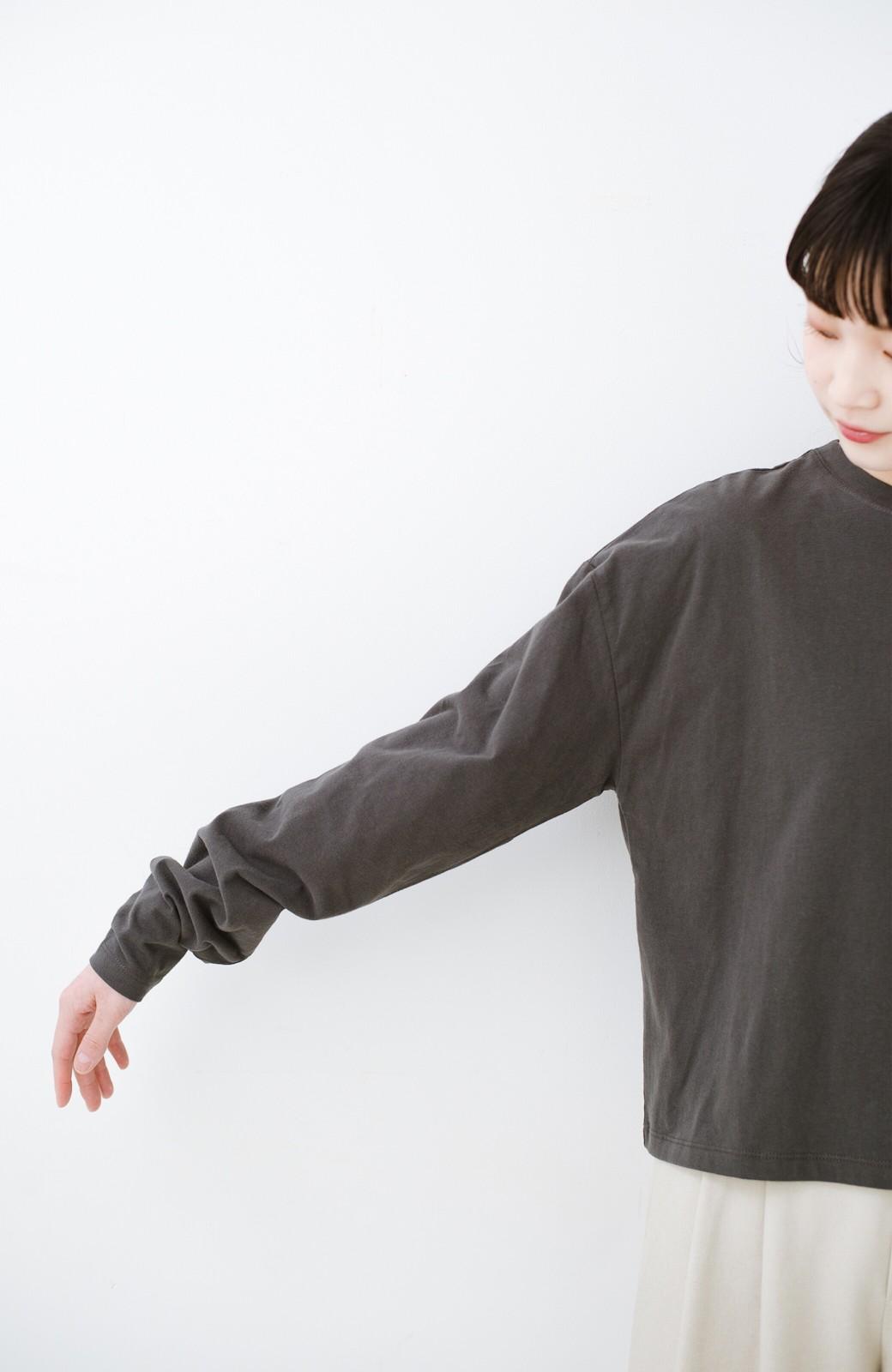 haco!  ゆるシルエットがオシャレ見え&華奢見せを叶える 便利すぎるロングTシャツ <チャコールグレー>の商品写真12