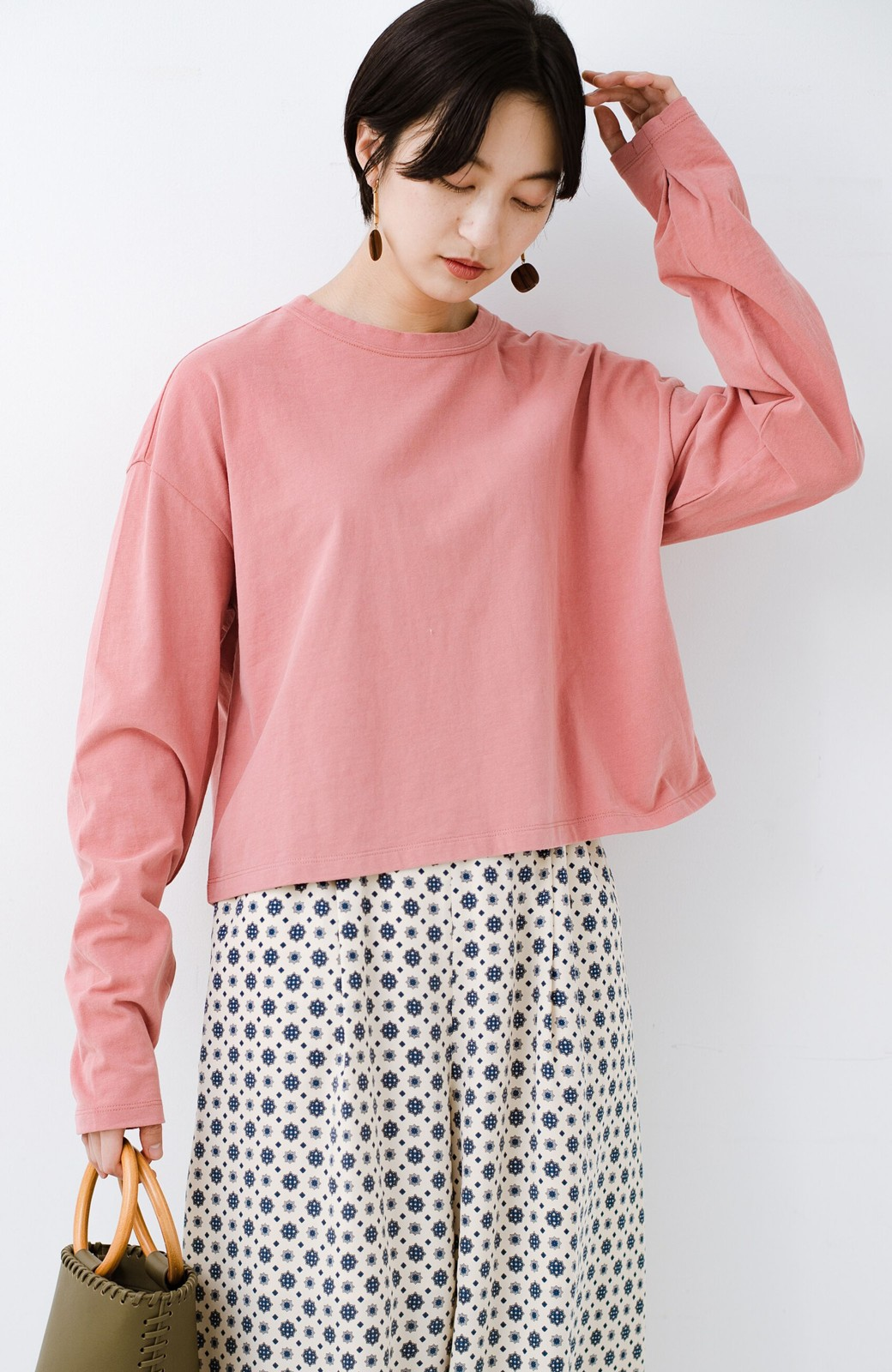 haco!  ゆるシルエットがオシャレ見え&華奢見せを叶える 便利すぎるロングTシャツ <ピンク>の商品写真3