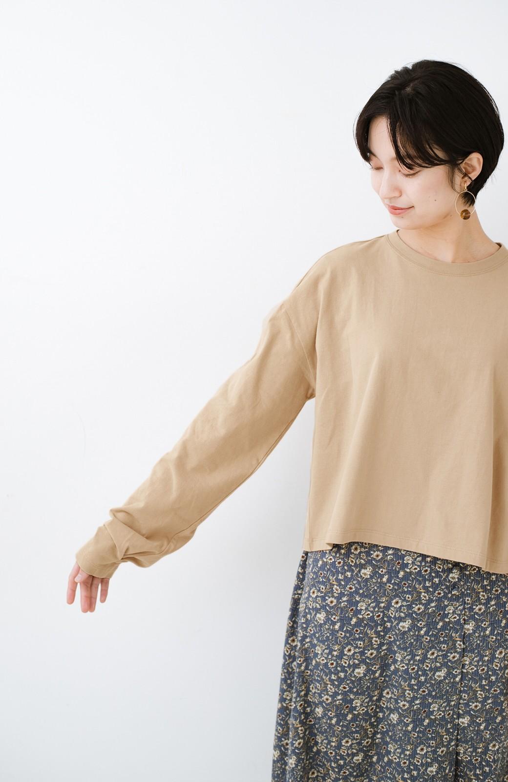 haco!  ゆるシルエットがオシャレ見え&華奢見せを叶える 便利すぎるロングTシャツ <ライトベージュ>の商品写真6