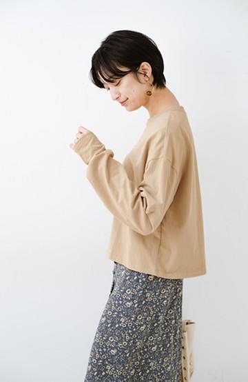 haco!  ゆるシルエットがオシャレ見え&華奢見せを叶える 便利すぎるロングTシャツ <ライトベージュ>の商品写真