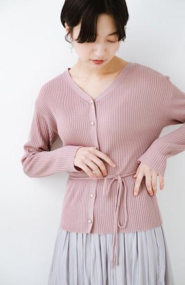 haco! 前後で着られて羽織っても便利なきちんと見えウエストリボンニットトップス <ピンク>の商品写真