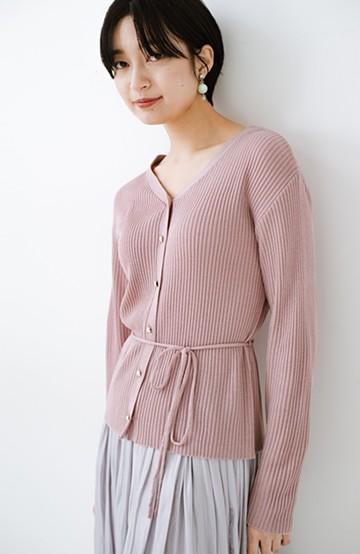 haco! 前後で着られて羽織っても便利なきちんと見えウエストリボンニットトップス<ピンク>の商品写真