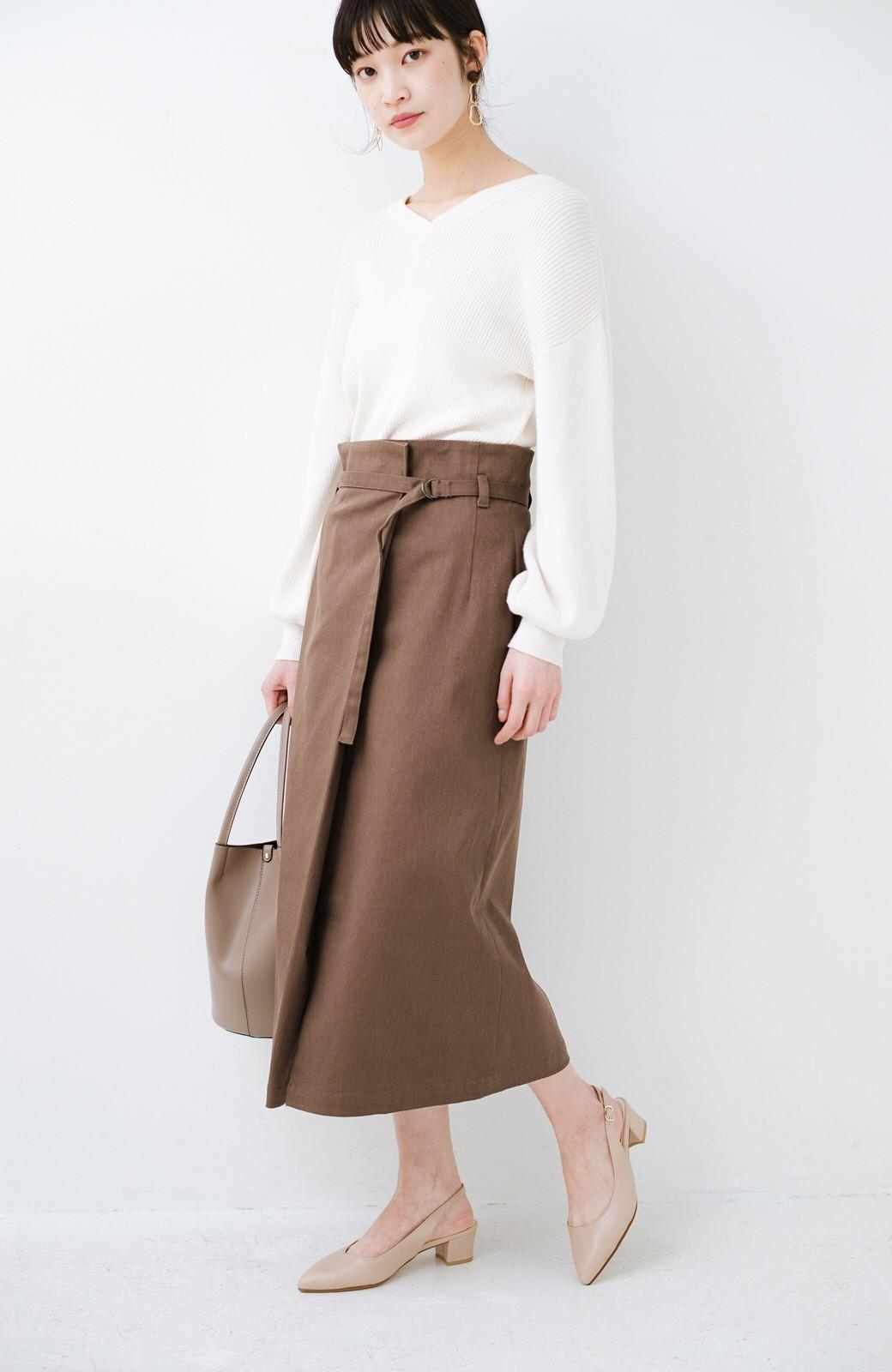 haco! 露出せずとも女っぽい すっきりシルエットが自慢のシンプルタイトスカート <ブラウン>の商品写真5