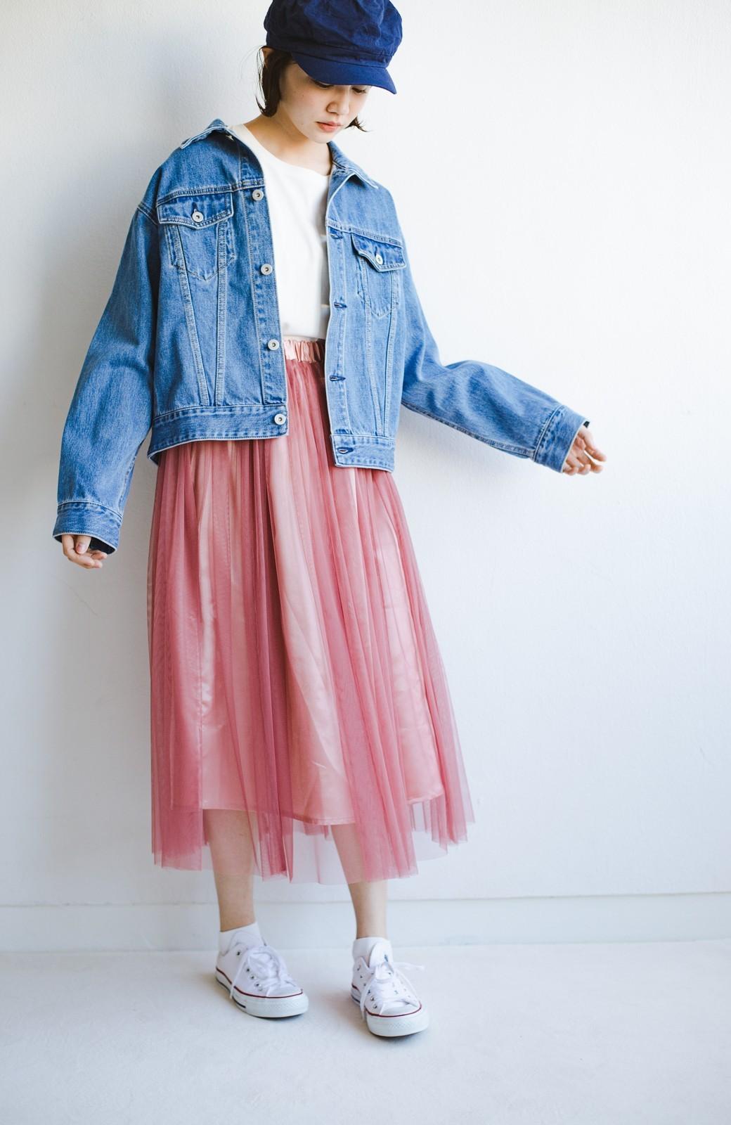 haco! 着るだけでルンとした気分になる! 長ーーい季節着られてずっと使えるオトナのためのチュールスカート <ピンク>の商品写真3