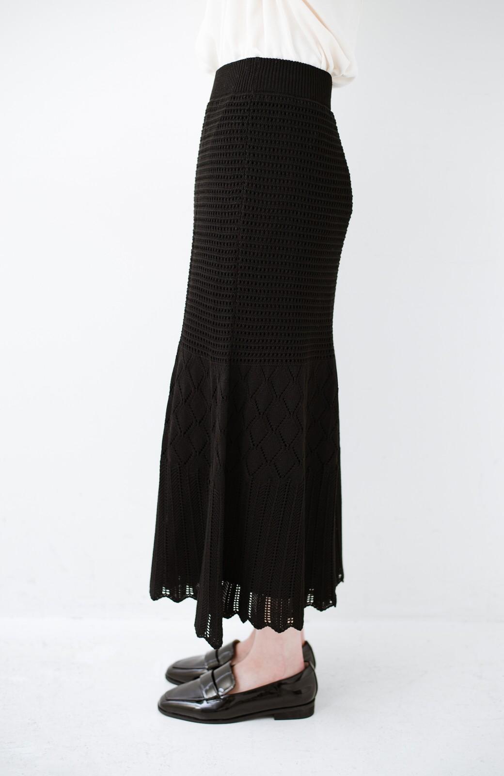 haco! 単品はもちろん重ね着してもかわいさが増す!透かし編みマーメイドスカート <ブラック>の商品写真5