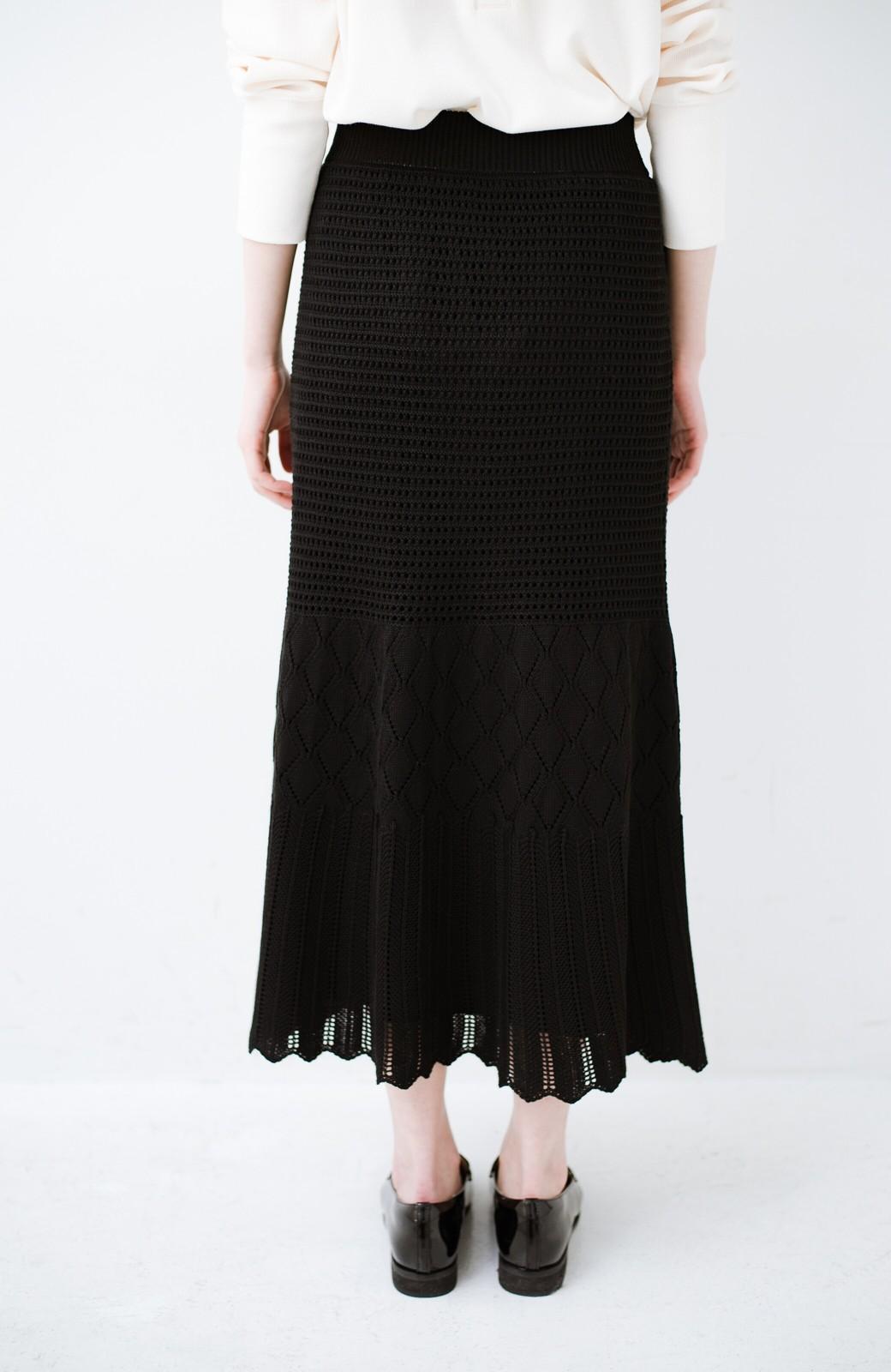 haco! 単品はもちろん重ね着してもかわいさが増す!透かし編みマーメイドスカート <ブラック>の商品写真6