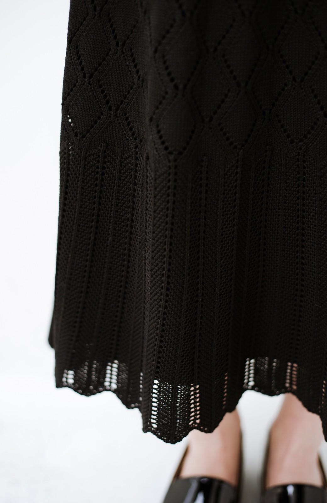haco! 単品はもちろん重ね着してもかわいさが増す!透かし編みマーメイドスカート <ブラック>の商品写真9