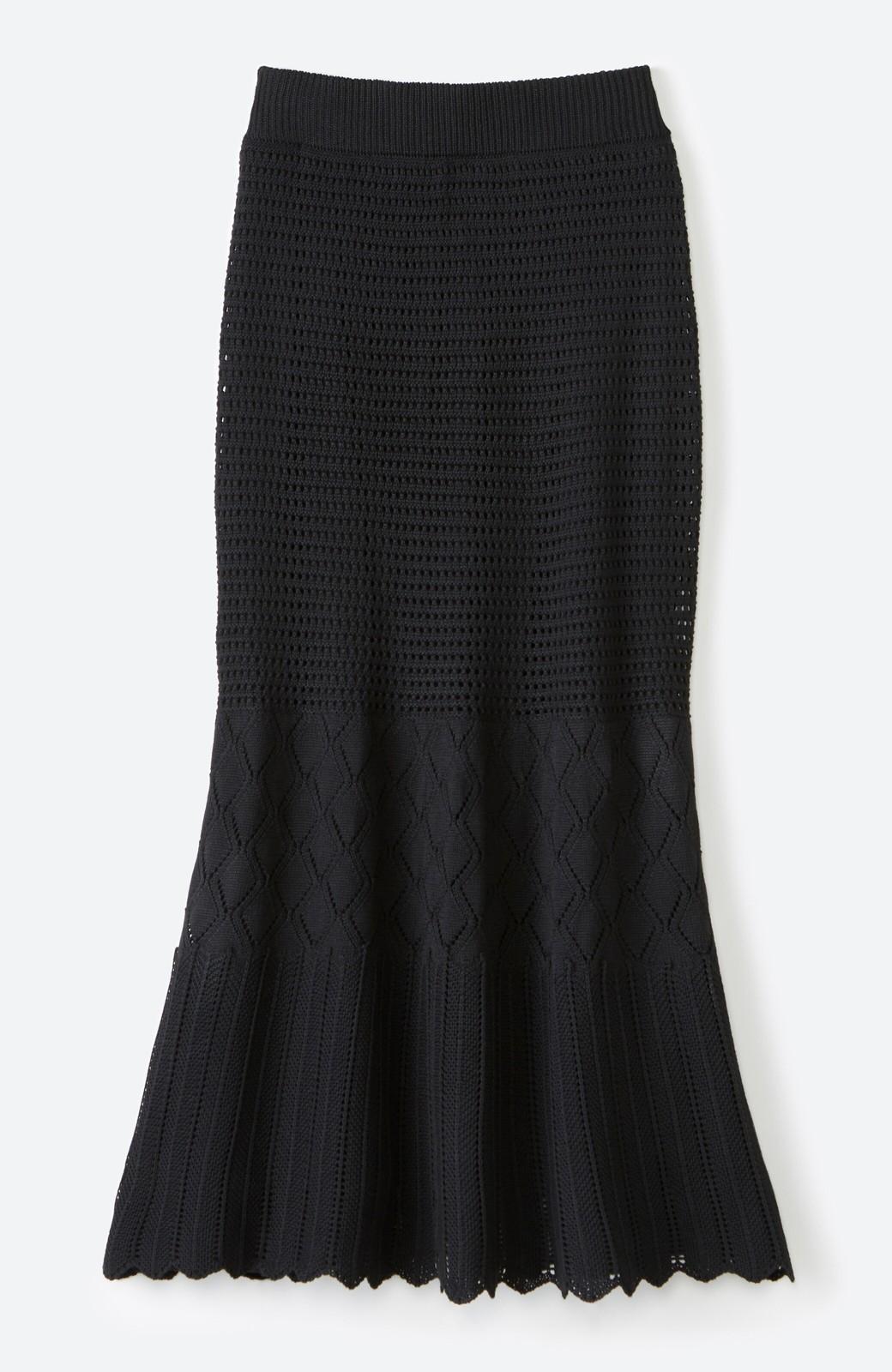 haco! 単品はもちろん重ね着してもかわいさが増す!透かし編みマーメイドスカート <ブラック>の商品写真23