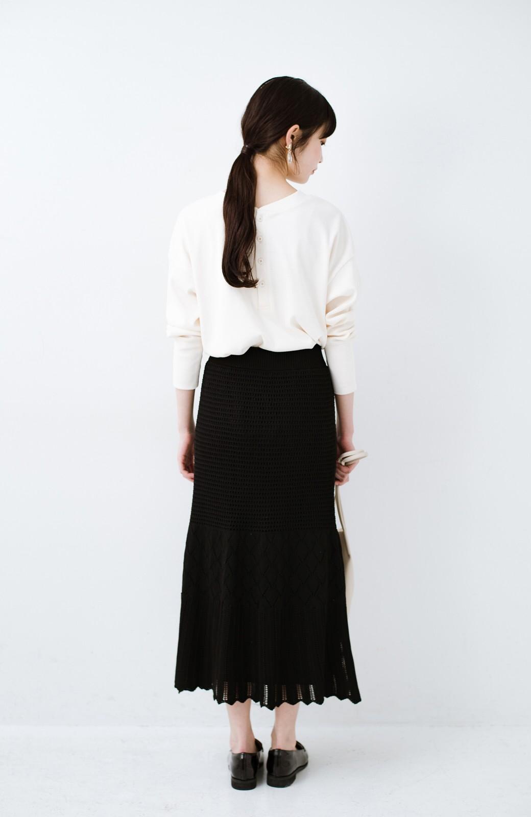 haco! 単品はもちろん重ね着してもかわいさが増す!透かし編みマーメイドスカート <ブラック>の商品写真17