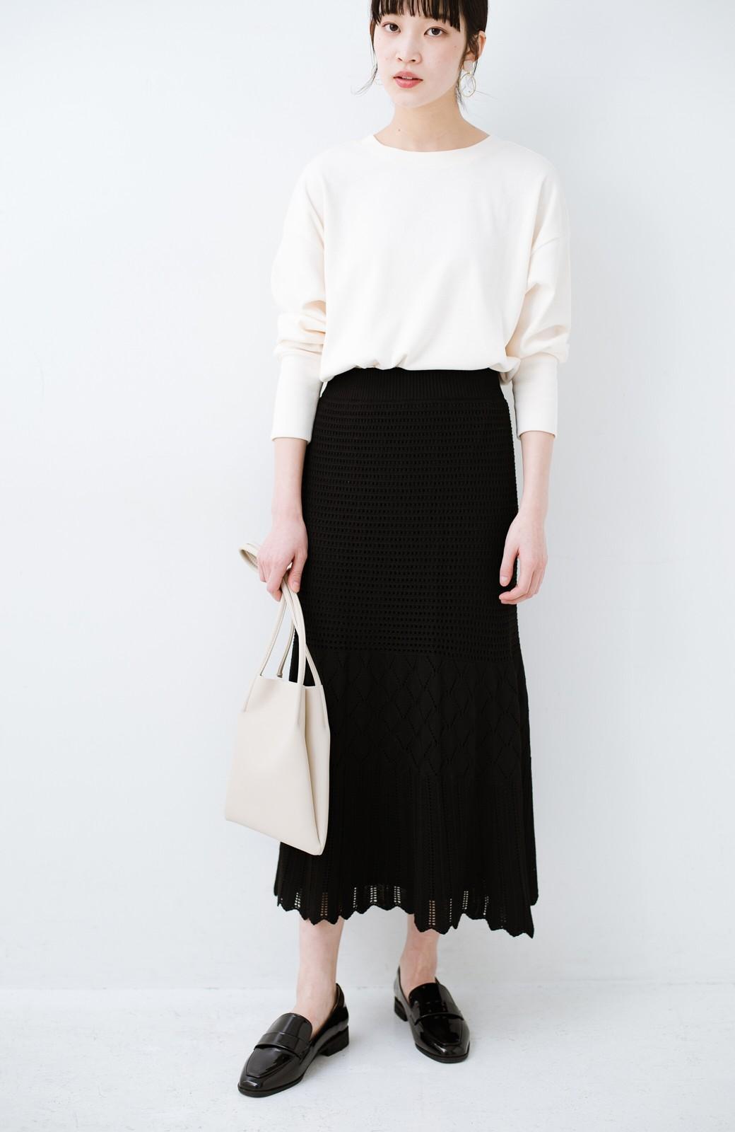 haco! 単品はもちろん重ね着してもかわいさが増す!透かし編みマーメイドスカート <ブラック>の商品写真21