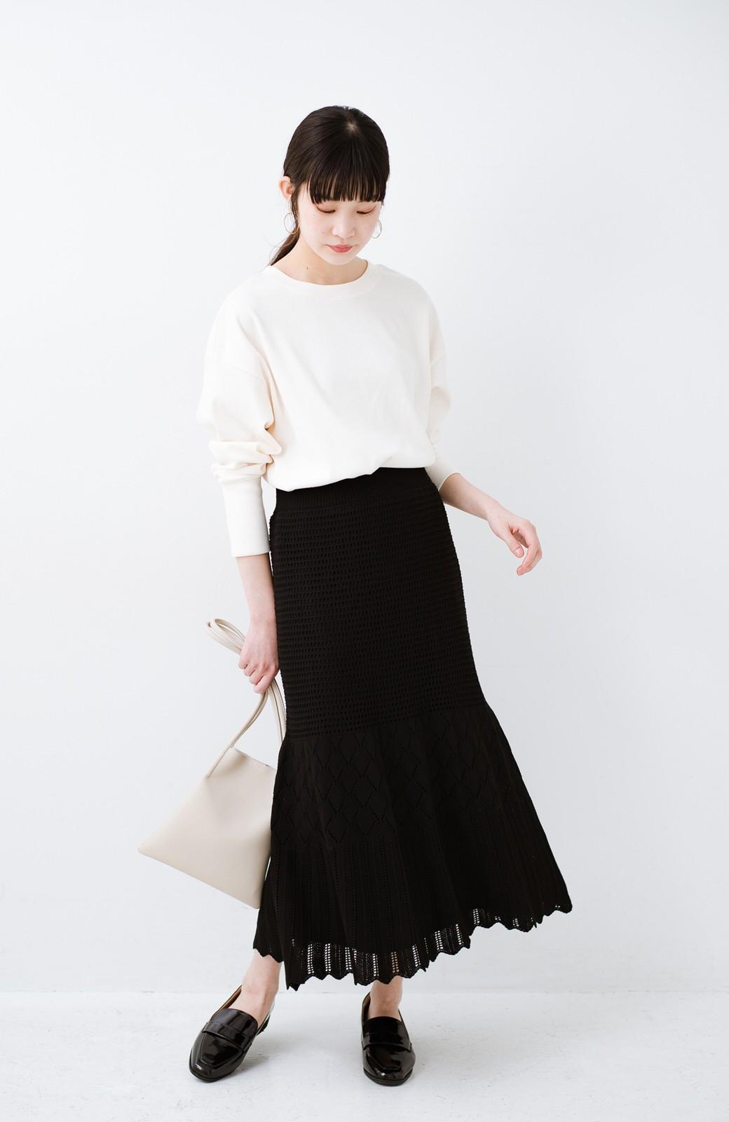 haco! 単品はもちろん重ね着してもかわいさが増す!透かし編みマーメイドスカート <ブラック>の商品写真13