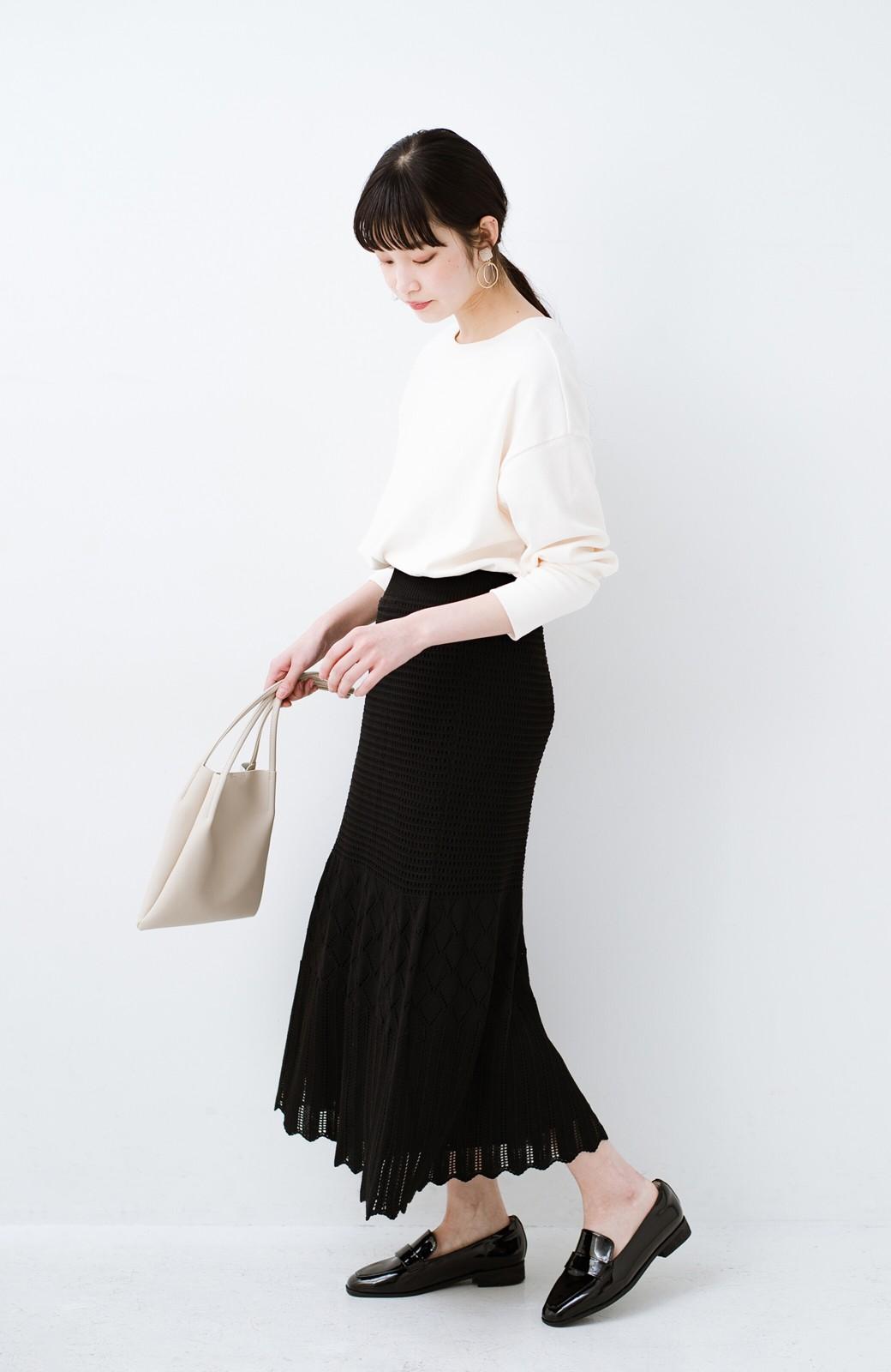 haco! 単品はもちろん重ね着してもかわいさが増す!透かし編みマーメイドスカート <ブラック>の商品写真14
