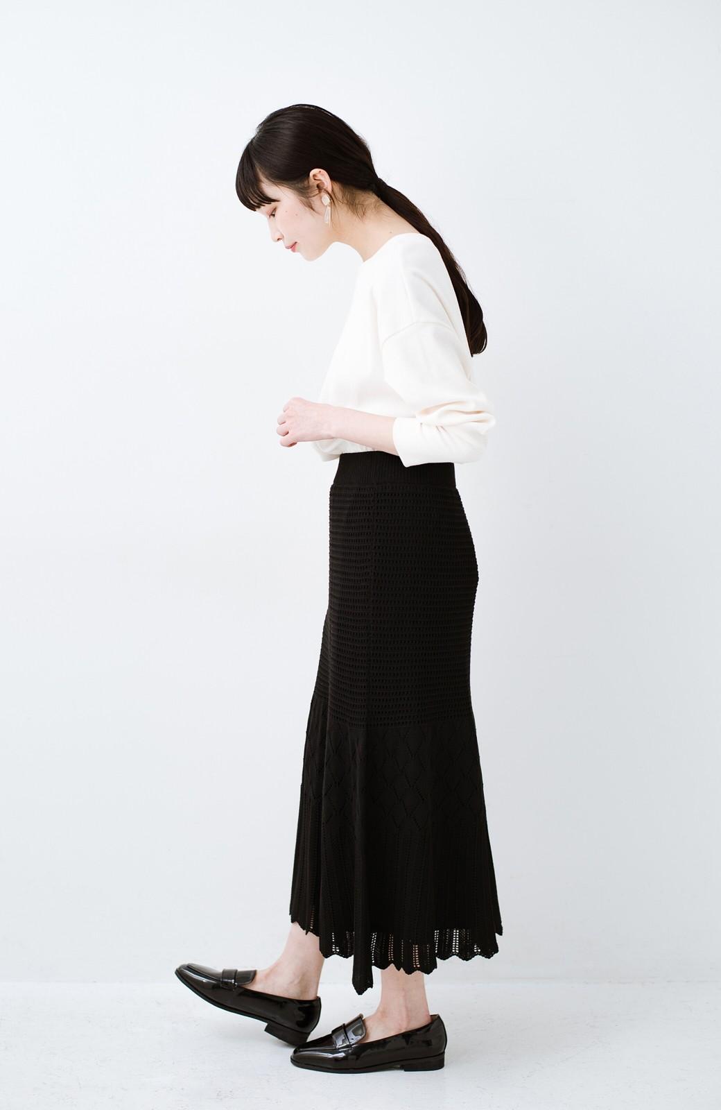 haco! 単品はもちろん重ね着してもかわいさが増す!透かし編みマーメイドスカート <ブラック>の商品写真15
