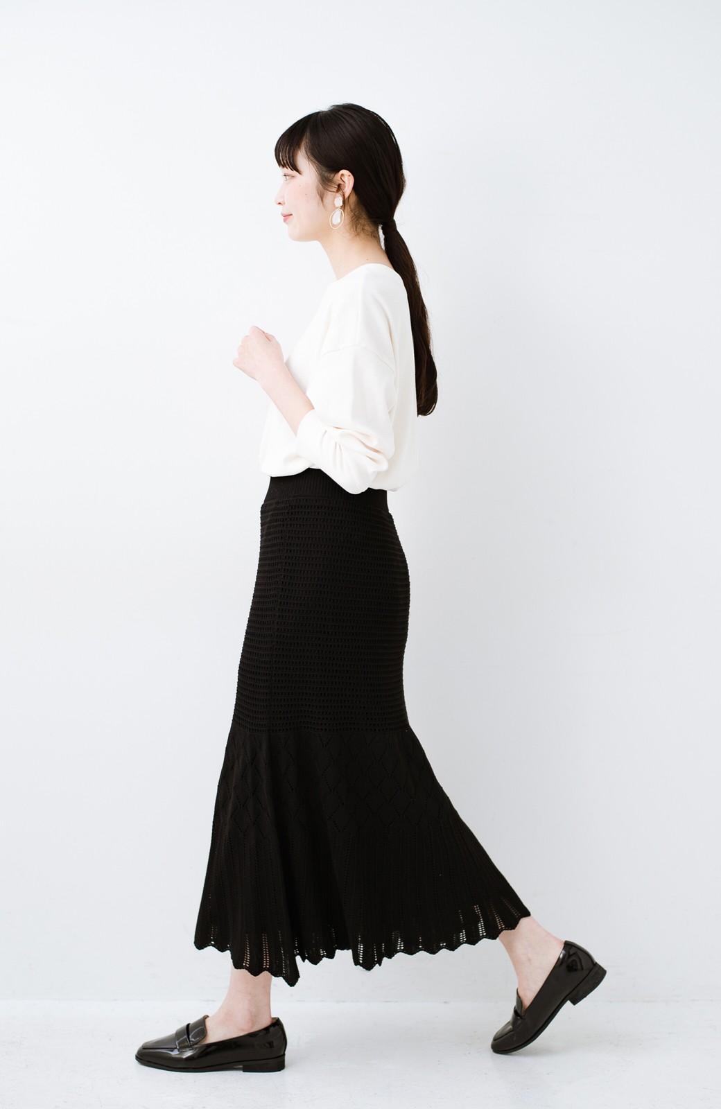 haco! 単品はもちろん重ね着してもかわいさが増す!透かし編みマーメイドスカート <ブラック>の商品写真16