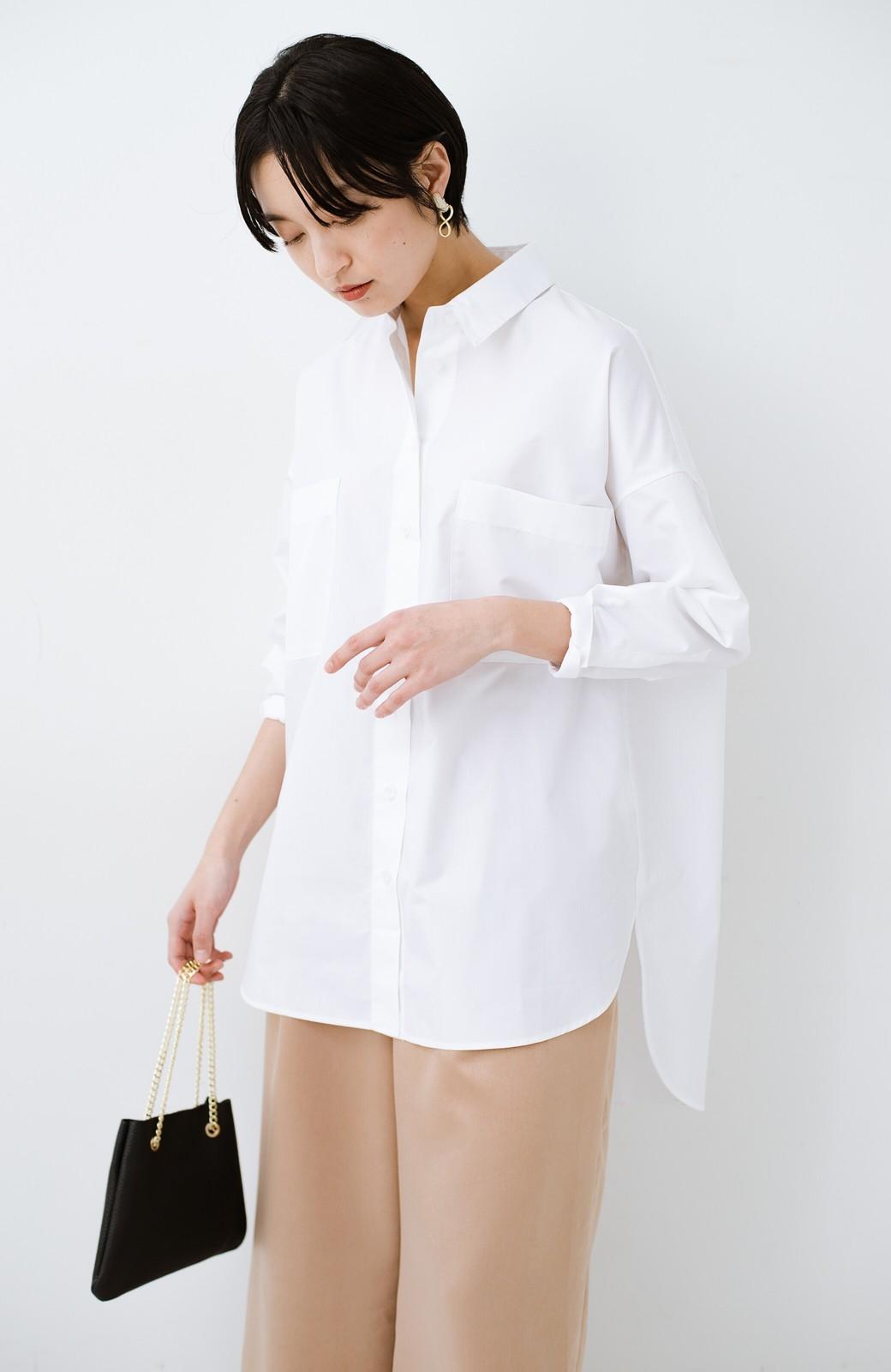 haco! サイズ感がオシャレに見せてくれる 真面目すぎないビッグシャツ <ホワイト>の商品写真4