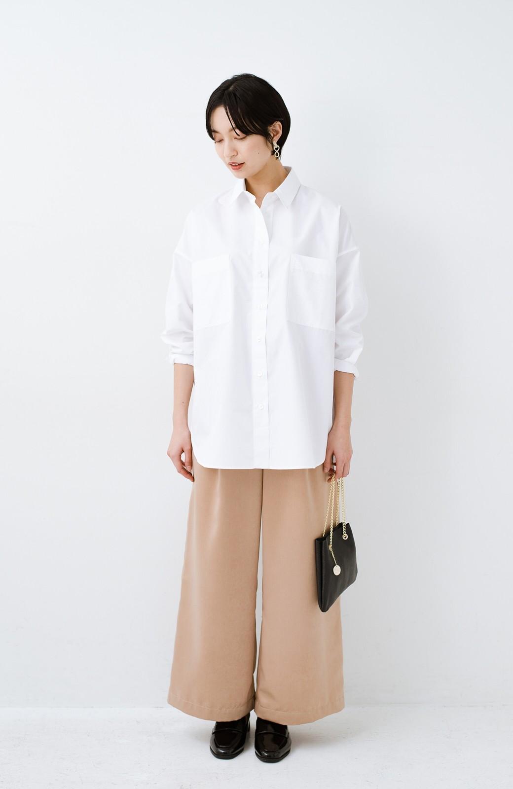 haco! サイズ感がオシャレに見せてくれる 真面目すぎないビッグシャツ <ホワイト>の商品写真8