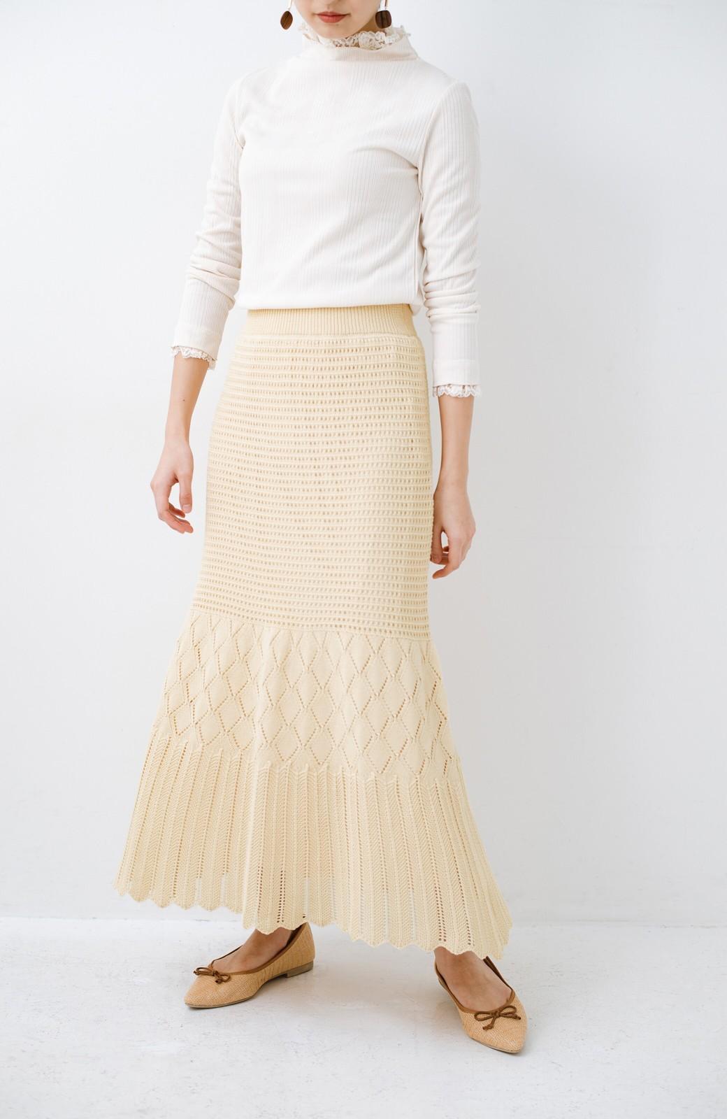 haco! 単品はもちろん重ね着してもかわいさが増す!透かし編みマーメイドスカート <アイボリー>の商品写真7