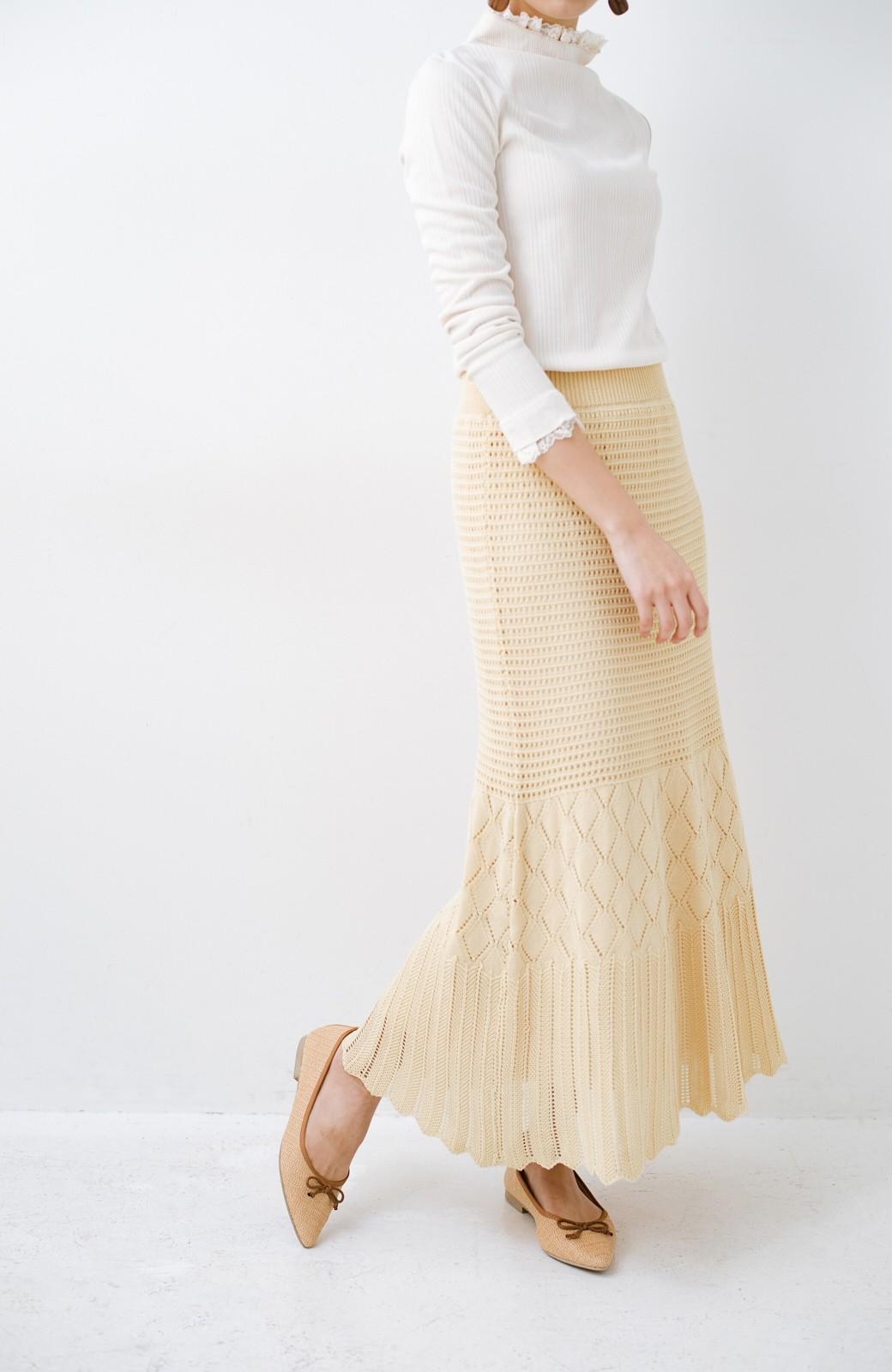 haco! 単品はもちろん重ね着してもかわいさが増す!透かし編みマーメイドスカート <アイボリー>の商品写真4