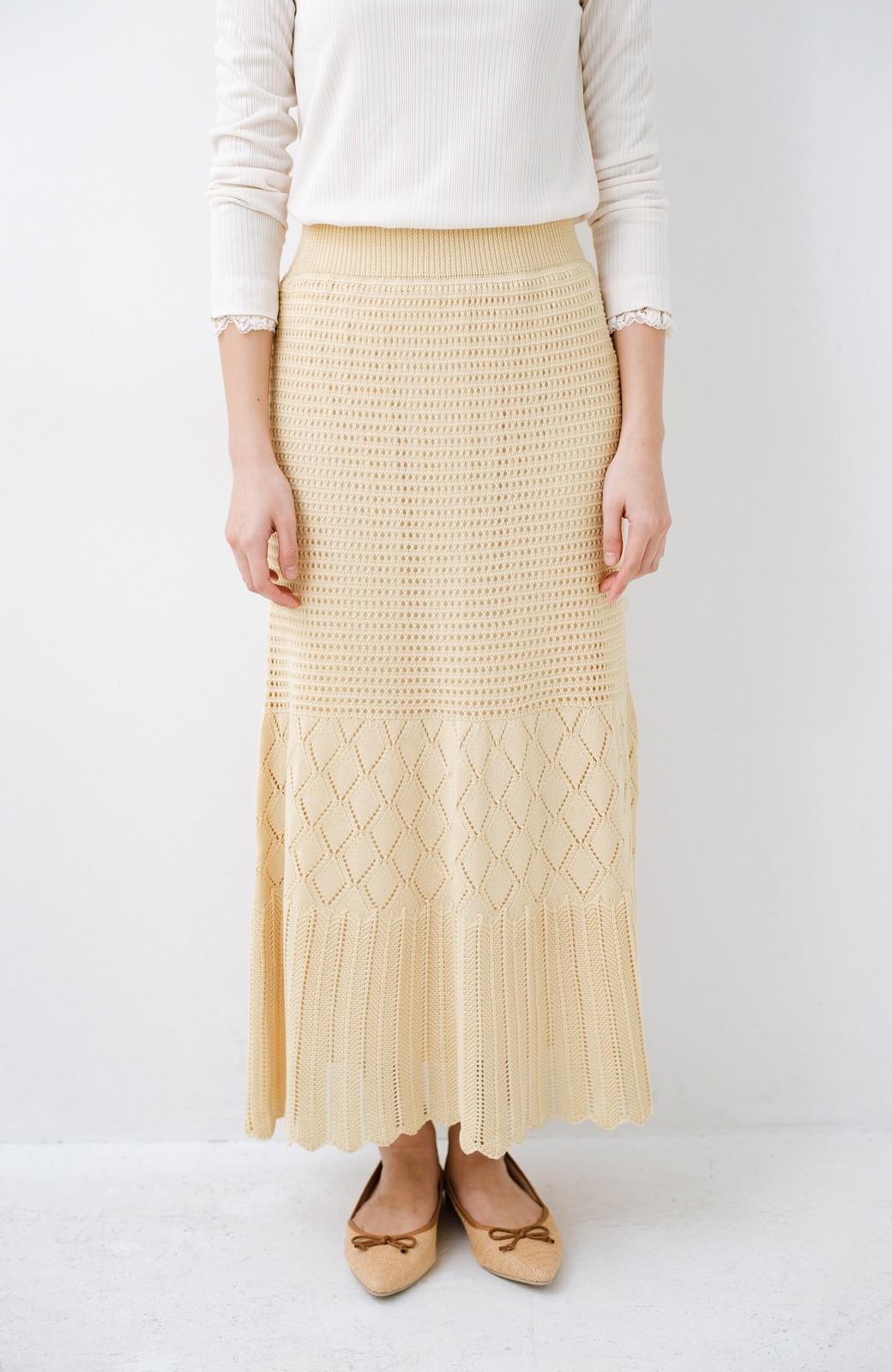 haco! 単品はもちろん重ね着してもかわいさが増す!透かし編みマーメイドスカート <アイボリー>の商品写真5