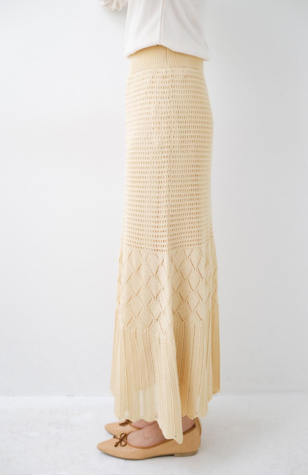 haco! 単品はもちろん重ね着してもかわいさが増す!透かし編みマーメイドスカート <アイボリー>の商品写真8